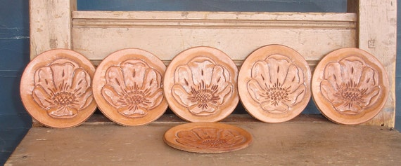 vintage coasters set of 6 tooled leather round disc from Diz Has Neat Stuff