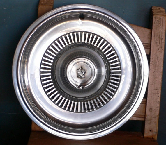 chrome wheel cover Buick deuce and 1/4 wall hanging garden decor white trash siding from Diz Has Neat Stuff