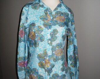 Vintage Mod 1970s Large Collar Shirt - Retro Rainbow Colors