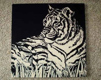 Vintage 1970s Signed Vera Tiger Fabric Panel Wall Art Print