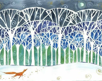 Little Fox in the Bog Wood - Print - Whimsical Moon and Snowy Traveler