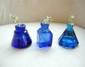 RESERVED FOR LAVIEGAGE  Set of Three Cobalt Blue Glass Inkwells