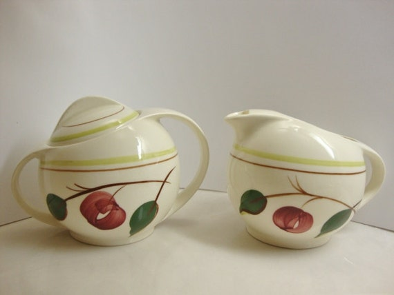 Blue Ridge Pottery Mountain Cherries Creamer and Lidded Sugar Bowl
