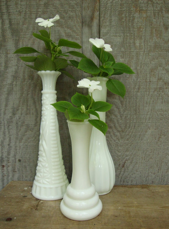 Three Milk Glass Bud Vases