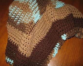 Brown, Tan and Aqua Crocheted baby afghan / blanket