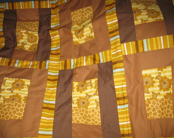 Sale - Baby zoo Lions Crib / toddler size quilt