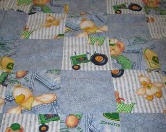 SALE - John Deere Tractor, Teddy bear and duck baby crib quilt