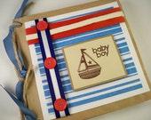 BABY BOY Book Scrapbook Album. Nautical. Red, White and Blue. Paper Bag Album. Brag Book. Picture Album. Summer Scrapbook. Photo Scrapbook.