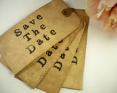 100 Vintage Wedding Save The Date Tag. Shabby Chic. Rustic. Country. Primitive. Farmhouse. Cottage. Antique. Stained. Distressed.