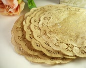 """Paper Doilies Vintage Wedding. Anthropologie Wedding Lace. Doily. Bohemian. Boho. Rustic. Gift Wrap. Antique. Stained. 4"""" 6""""  Set of 10."""