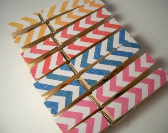 Chevron Clothespins.  Set of 8. Rainbow. Home. Office. Chip Clip. Pin. Peg. Gift Wrap. Kitchen.