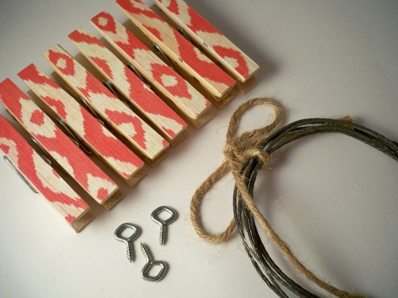 IKAT Clothesline Kit. Clothespins. Indoor. Clips. Pegs. Photo Frame. Picture. Office. Garland. Banner. Wall Decoration