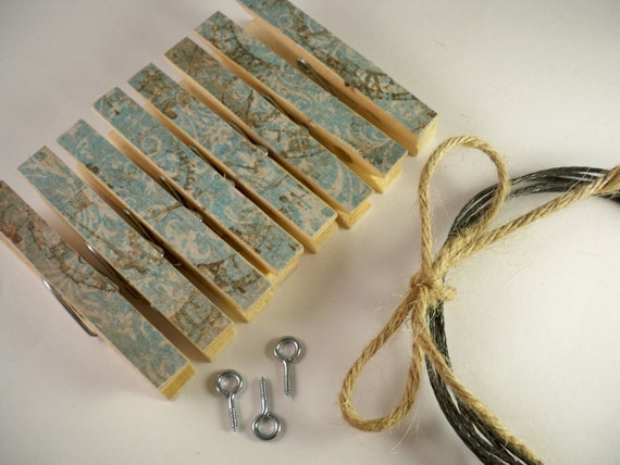 Clothesline Kit. Vintage Inspired Clothespins. Shabby Chic. Picture Frame. Photos. Pin. Clip. Peg. Home Office. Wall Decor.