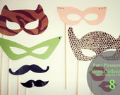 Party Pleasantries: Sparkling SUPERHERO MASK COLLECTION - 8 Photo Props on a Stick