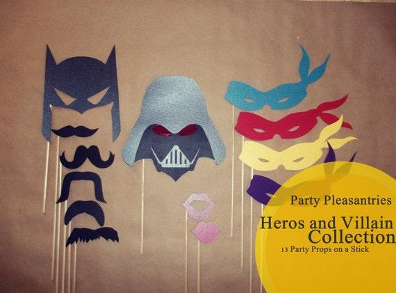 Party Pleasantries - HEROS & VILLAINS Collection - Photo Props on a Stick Set