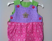 Handmade Baby Onesie Pink,Purple, and Green with Flower Applique Size 18-21lbs