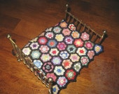 Hand Crocheted Dollhouse Miniature Blanket:  Flower Garden