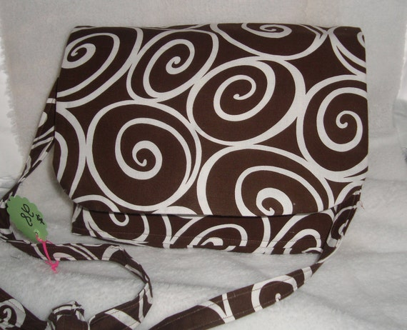 Crossbody Chocolate Brown and White Swirl Messenger Bag