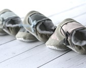 set of 3 Baby Shoes -  natural linen, blue, grey, pink