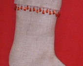 Burlap Stocking w/ Sparkling Red Bead Trim Fully Lined