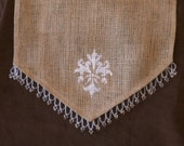 110 inch Burlap Table Runner with Hand Stenciled Fleur Design w/ Bead Swag Trim  X 14 inches