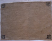 Burlap Placemats with Black Fleur Corners Hand Stenciled, set of 4