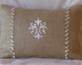 """Burlap Hand Painted Fleur White and Gold Bead Lumbar Pillow Cover 18"""" X 12"""" Front Lined"""
