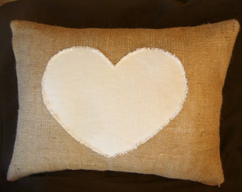 "Burlap Lumbar Pillow Cover with Frayed Heart in Natural Muslin 18"" X 12"""