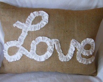 "Burlap Lumbar Pillow Cover Lined- / Ruffled Love in White Muslin 18"" X 12"""