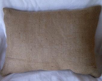 "Burlap Lumbar Pillow Cover 18"" X 12"" Fully Lined"