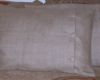 """King Burlap Pillow Sham with Buttons 36"""" X 20"""" Fully Lined"""