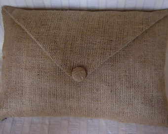 "Burlap Envelope Lumbar Pillow Cover with Covered Button Fully Lined 18"" X 12"""
