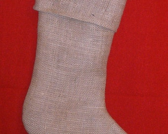 6 Burlap Stocking with Brown Muslin Lining, Fully Lined