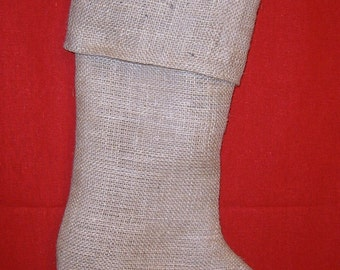 Burlap Stocking with Button Initial and Brown Muslin Lining, Fully Lined