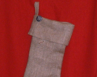 Burlap Christmas Stocking with Button Initial and Brown Muslin Lining, Fully Lined