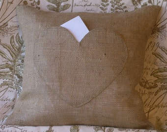 Burlap on Burlap Heart Pocket - Lover Letter Pillow Cover 18 X 18 or 16 X 16 - Lined