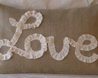 "Burlap Lumbar Pillow Cover Lined- / Ruffled Love in Natural Muslin 18"" X 12"" or 18 X 18"
