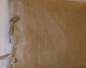 Burlap Pillow with Ties 22 X 22 inches-Lined