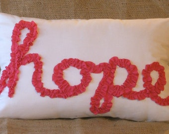 """Pink hope Ruffle on White Muslin Pillow cover 18"""" X 12"""""""