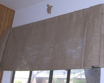 Burlap Straight Bottom Pleated Ends Valance with Rod Pocket Up To 60 inches