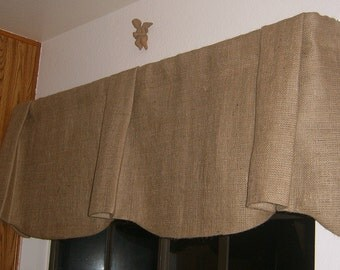 """Self Lined Burlap Scalloped Bottom Pleated Center and Ends Valance with Rod Pocket 85"""" to 108"""" Valance"""