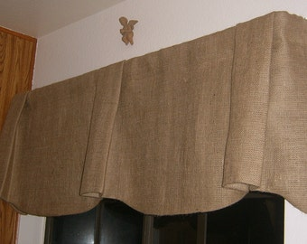 Burlap Scalloped Bottom Pleated Center and Ends Valance with Rod Pocket 48 To 60 inches
