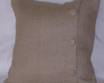 Burlap Pillow Cover with 3 Handmade Covered Buttons 20 X 20 inches