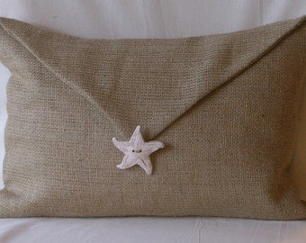 """Burlap Envelope Lumbar Pillow Cover-Hand Made Starfish 18"""" X 12"""" Front Lined"""
