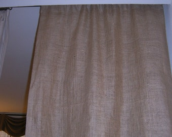 """1 Pair of 56"""" Wide-Burlap Panel with Rod Pocket Up To 84 inches-Lined"""
