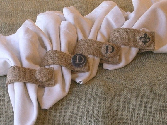 Set of 4-Burlap Napkin Rings with Custom Buttons, Initiales, Fleur de Lis