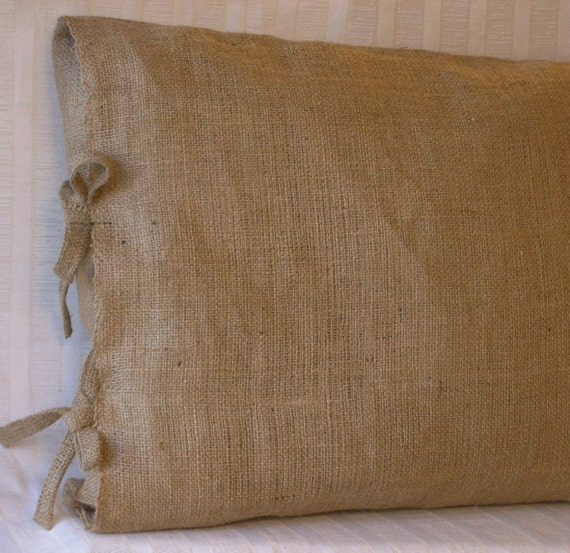 Burlap Pillow with Ties in 18 X 18 or 16 X 16 inches-Lined