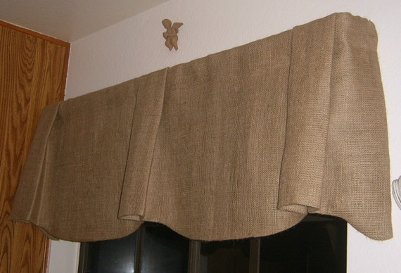 Burlap Scalloped Bottom Pleated Center and Ends Valance with Rod Pocket Up To 84 inches