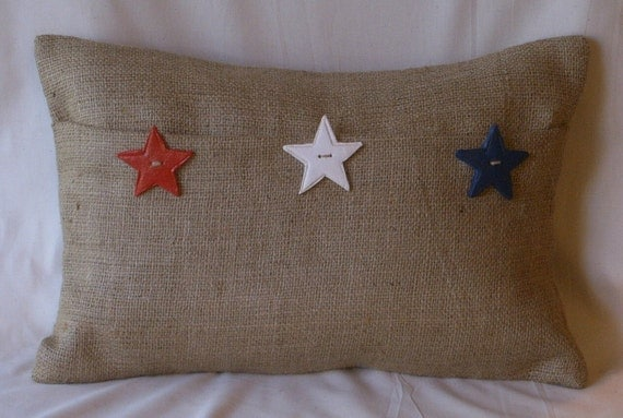 """Burlap Lumbar Red, White, Blue Stars Pillow Cover with 3 Handmade Buttons 18"""" X 12"""""""