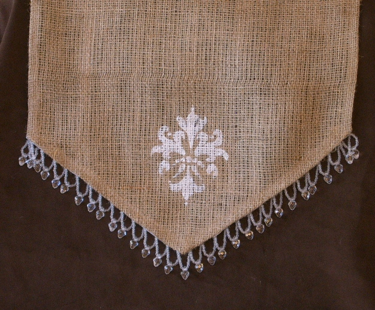 items similar to 110 inch burlap table runner with hand